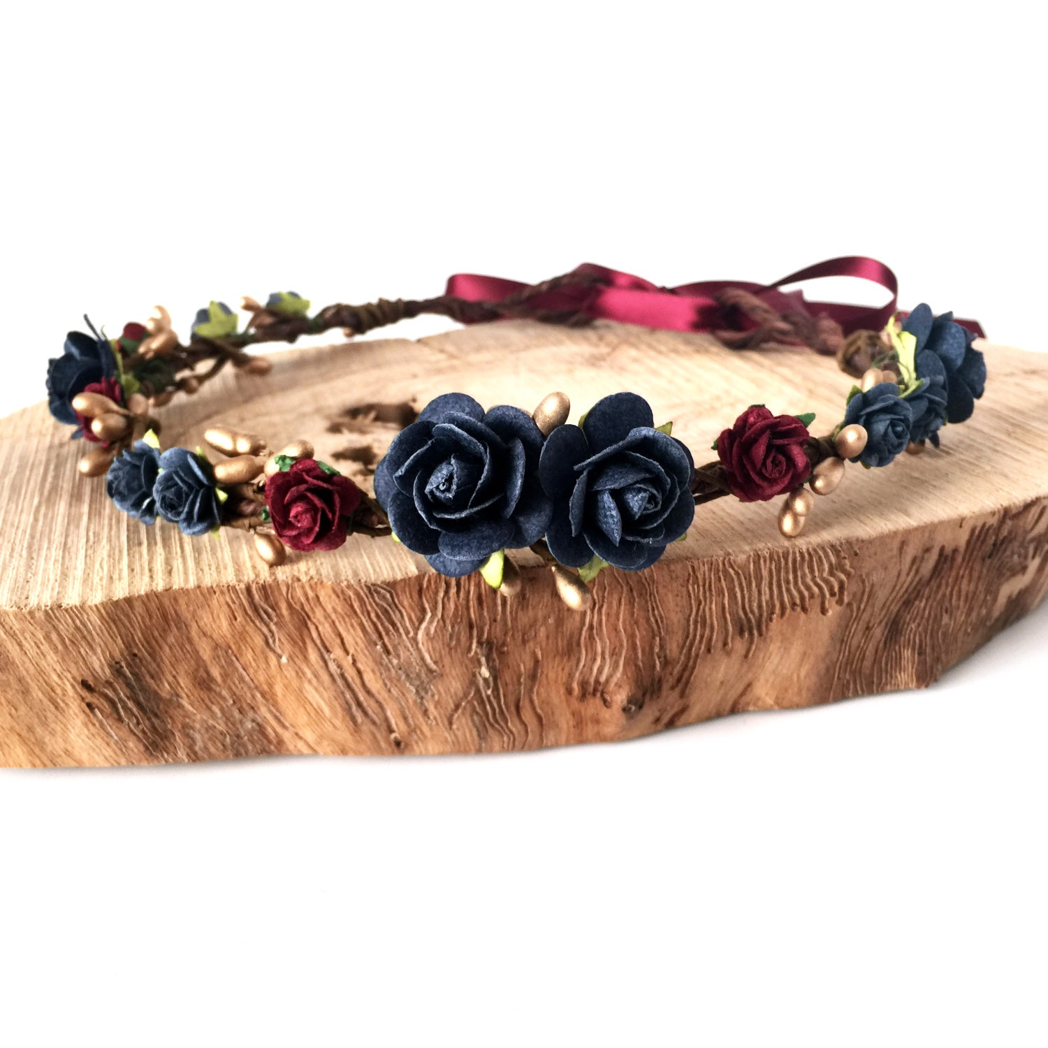 navy and deep red flower crown with gold berries