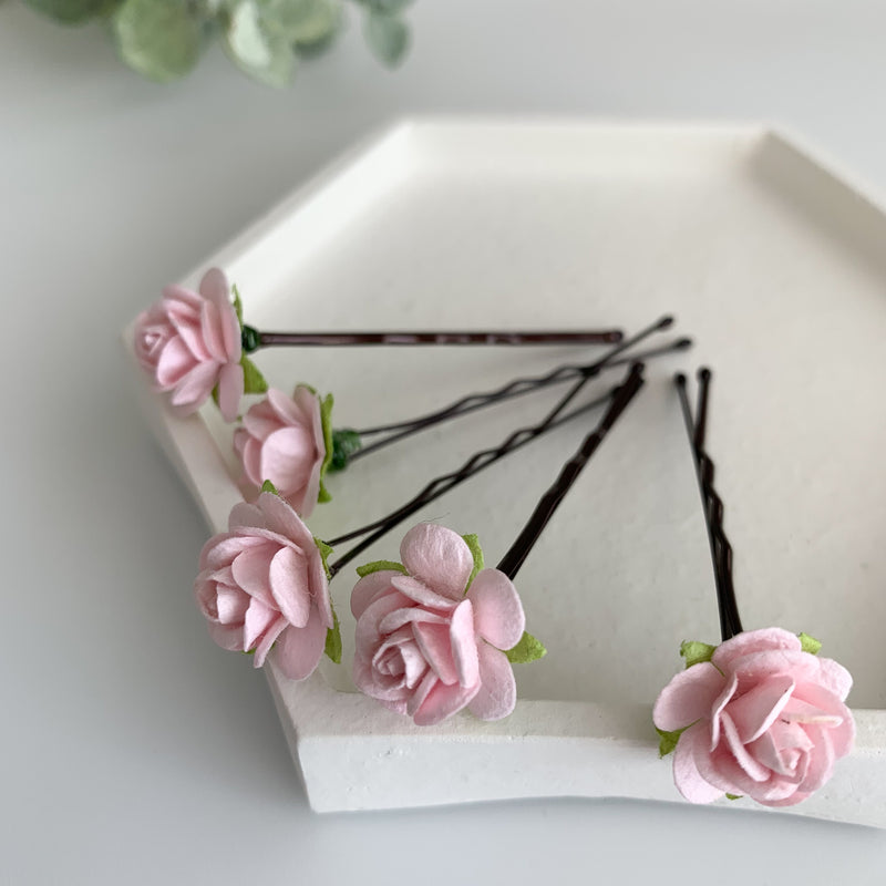 pale pink mini rose hair pins