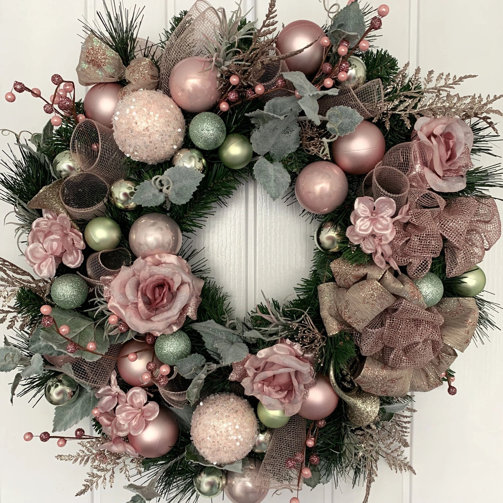 pink and mint christmas wreath