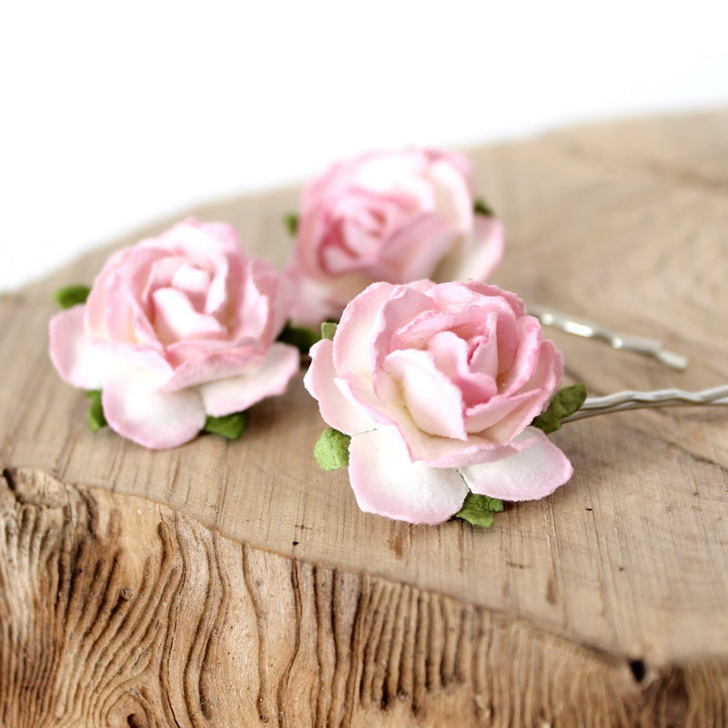 pink flower hair clips for wedding
