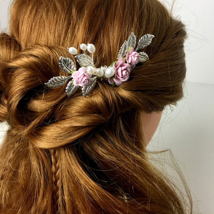 rose and silver leaf wedding hair comb