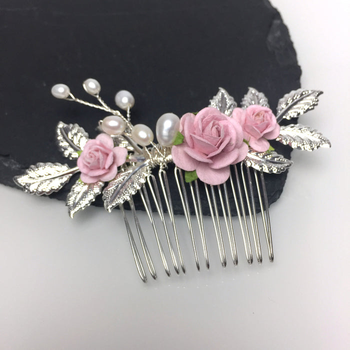blush pink rose and silver leaf wedding hair comb