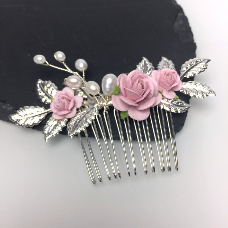LAYLA Leafy Rose and Pearl Wedding Hair comb