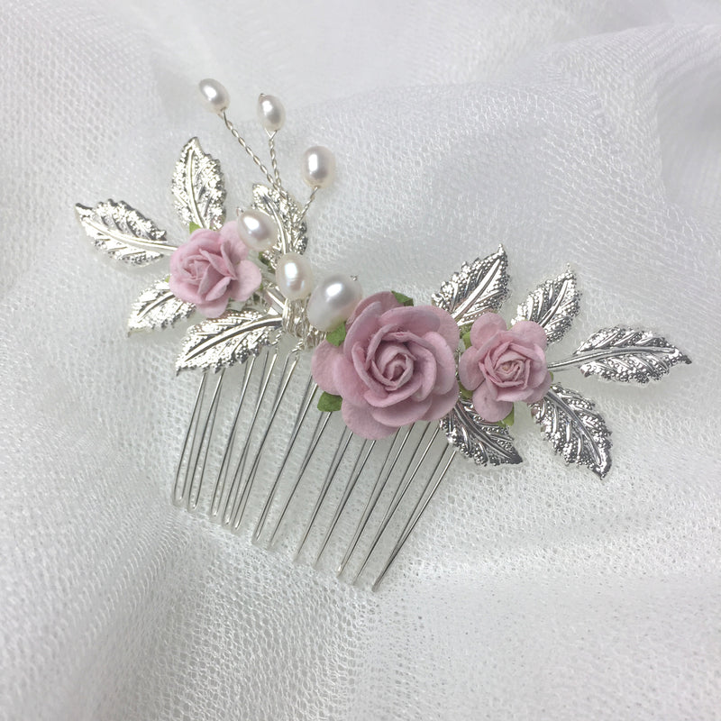 blush pink rose and silver leaf wedding hair accessories