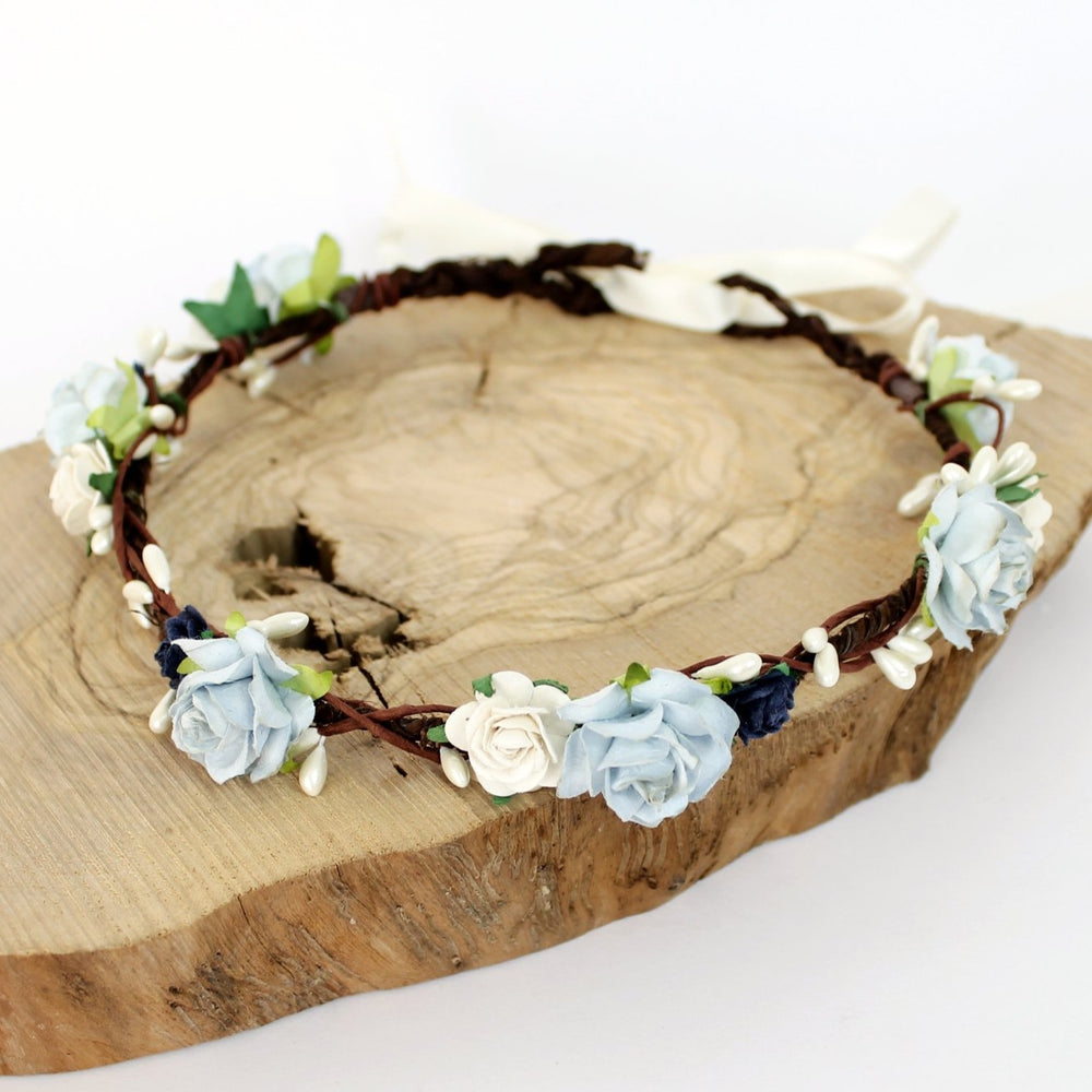 boho wedding flower crown blue