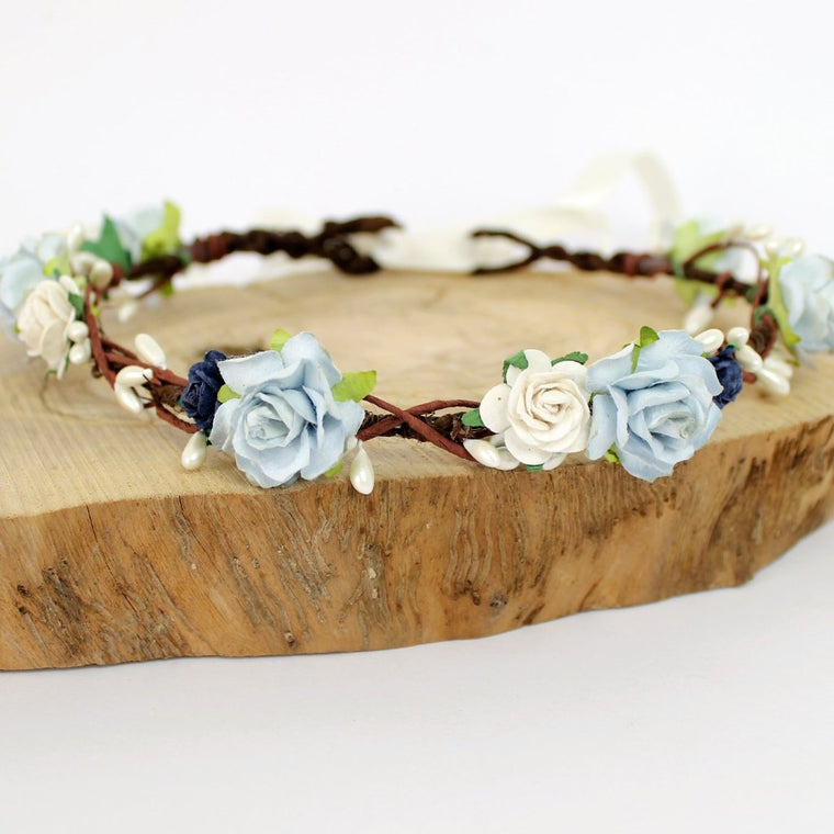 LEAH Blue Rose Flower Crown