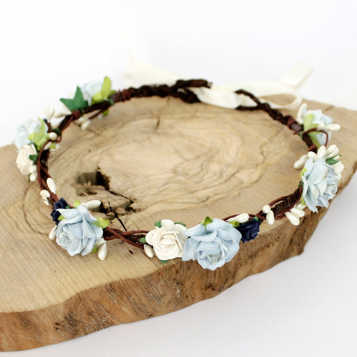 boho wedding flower crown in blue