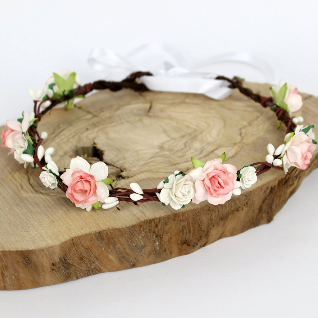 coral and white flower crown
