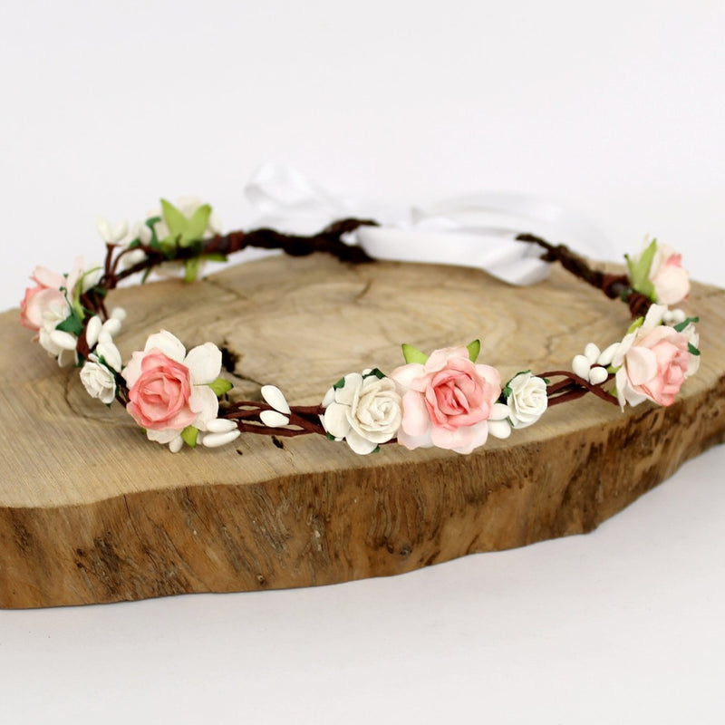 salmon pink flower crown