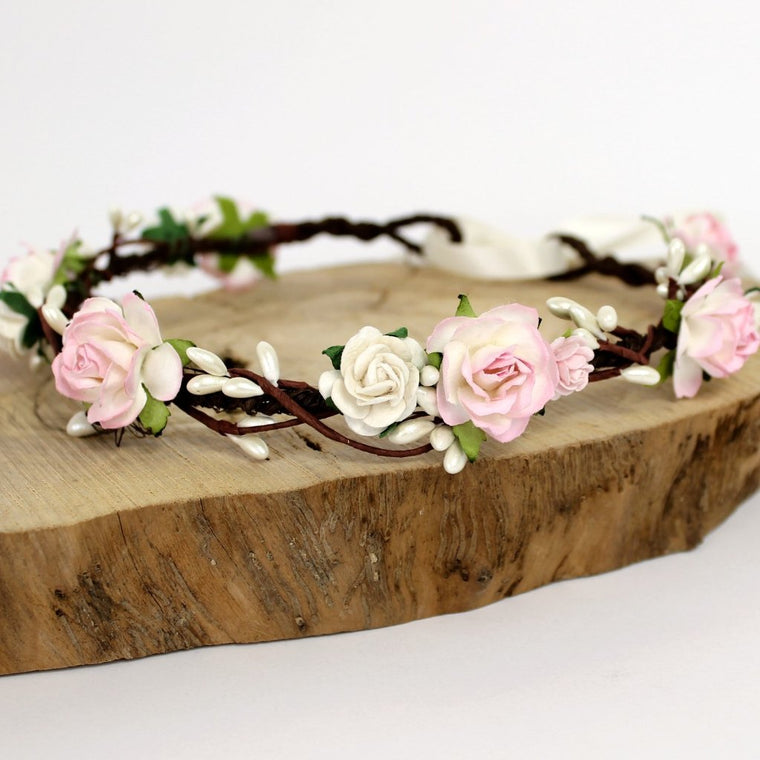 LEAH Pale Pink Rose Flower Crown