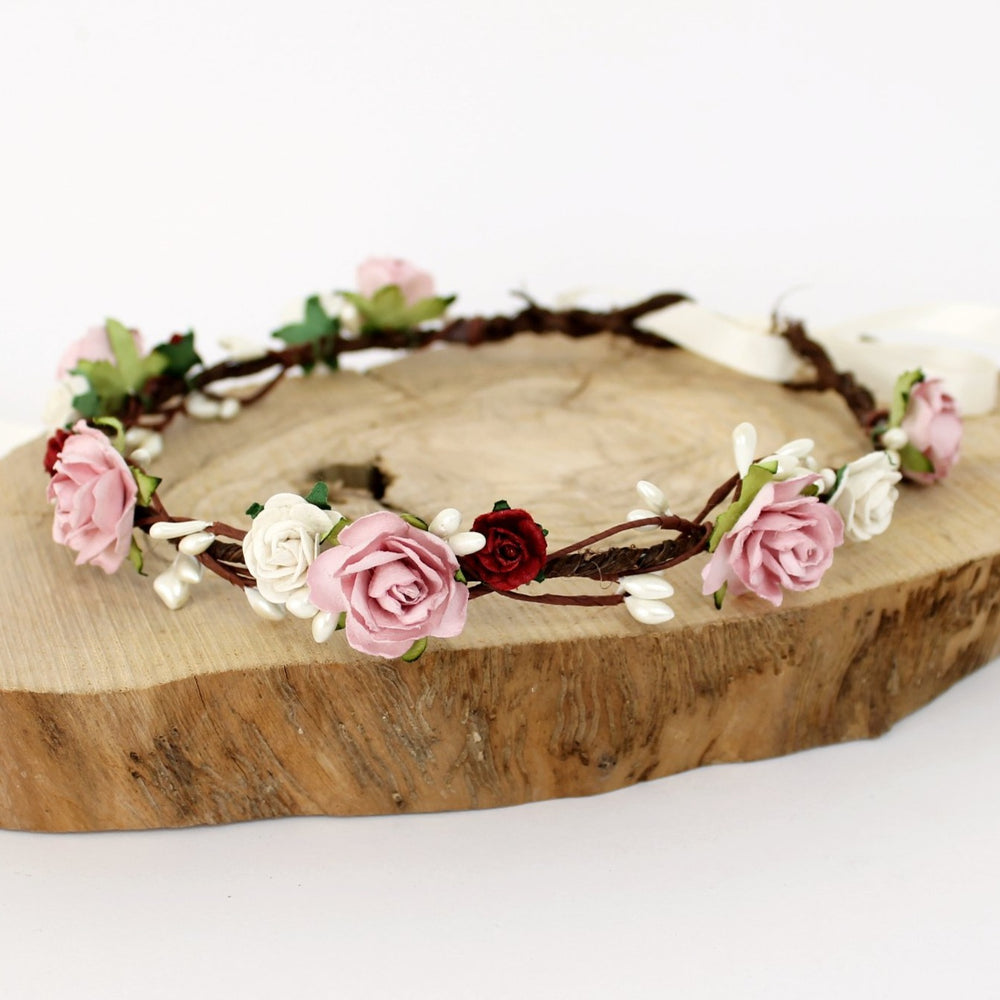 deep red and dusky pink flower crown