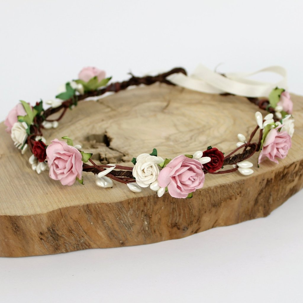burgundy and dusky pink flower crown