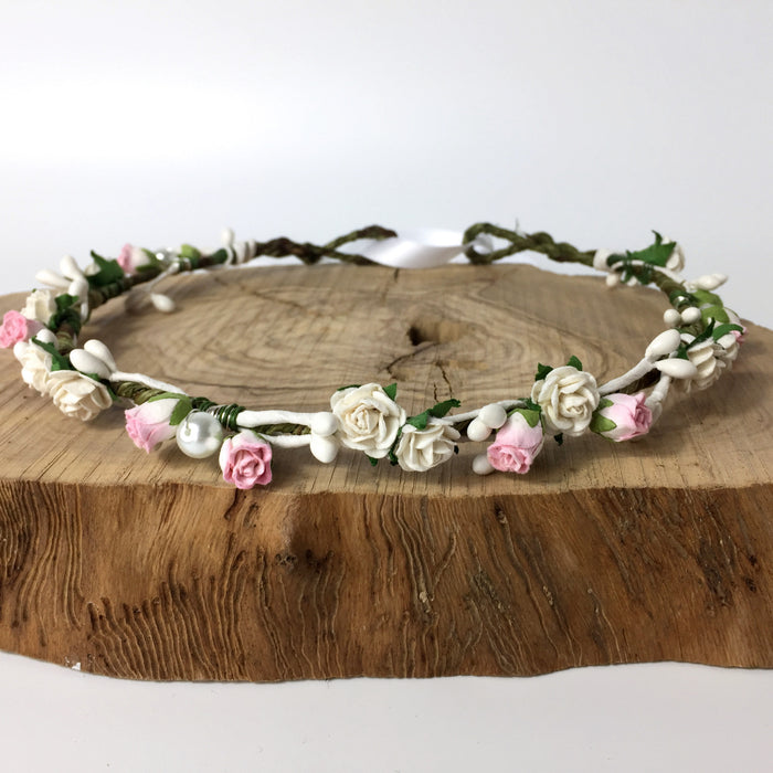 LENA Pink Tulip and Rose Flower Crown