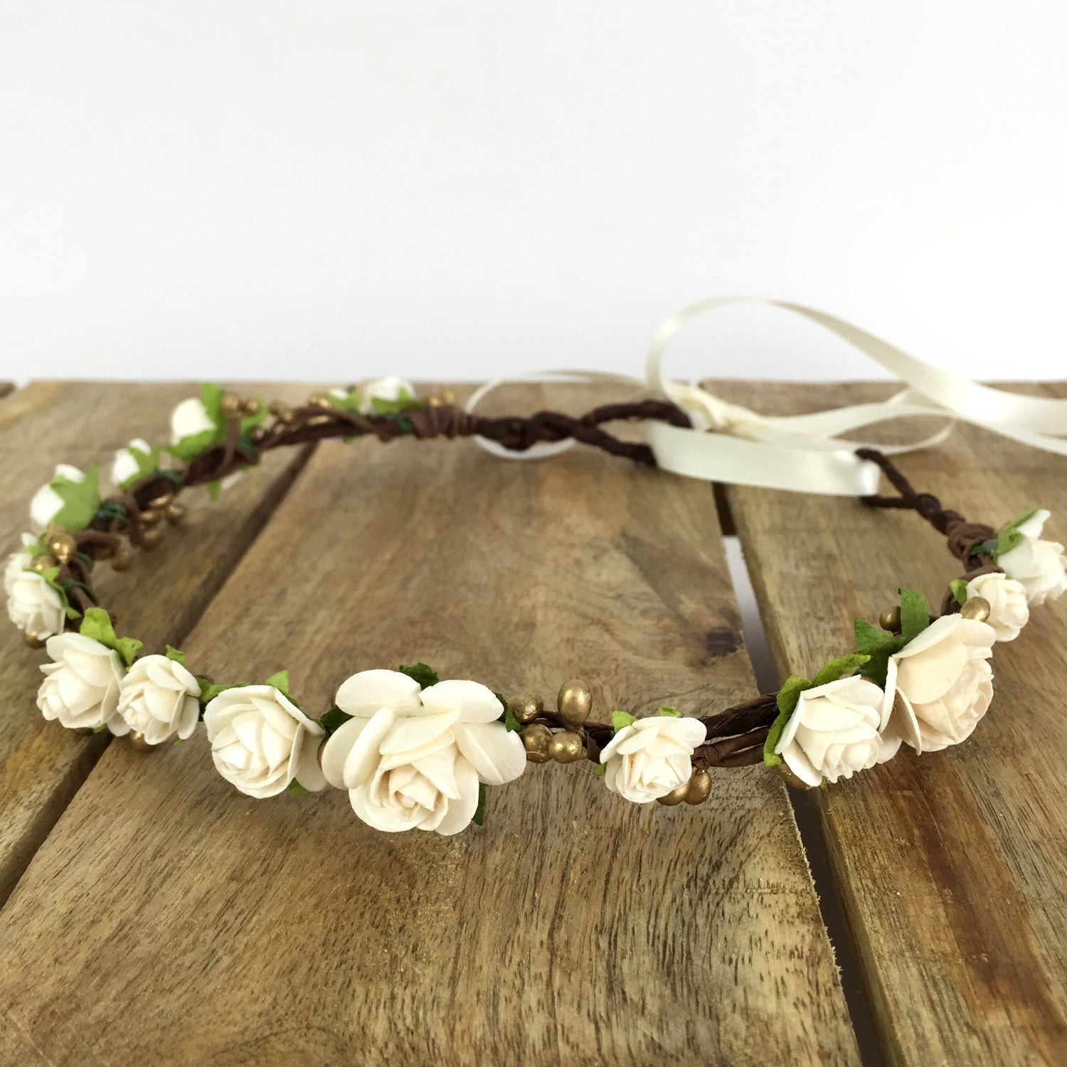 ivory and gold bridal flower crown
