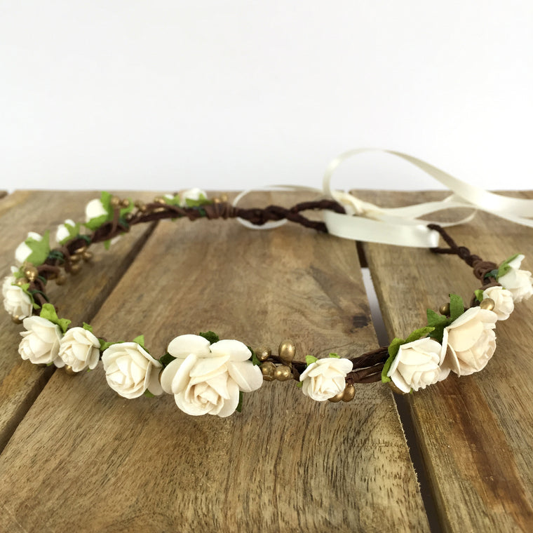 LUCY Ivory and Gold Flower Crown