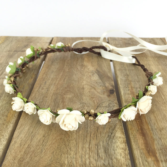 ivory and gold wedding flower crown