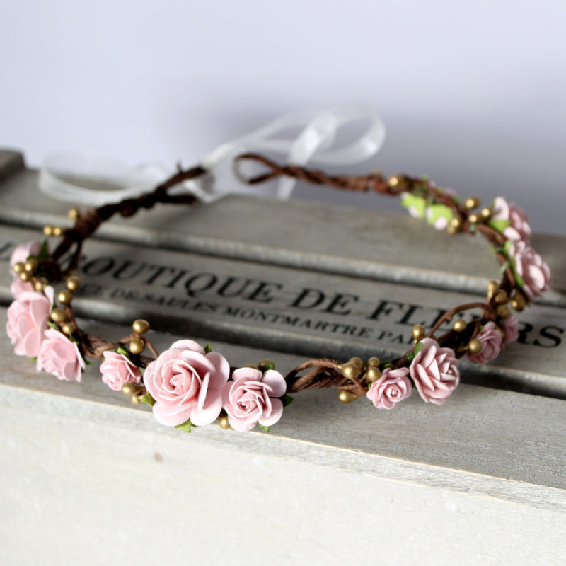 blush and gold flower crown for wedding