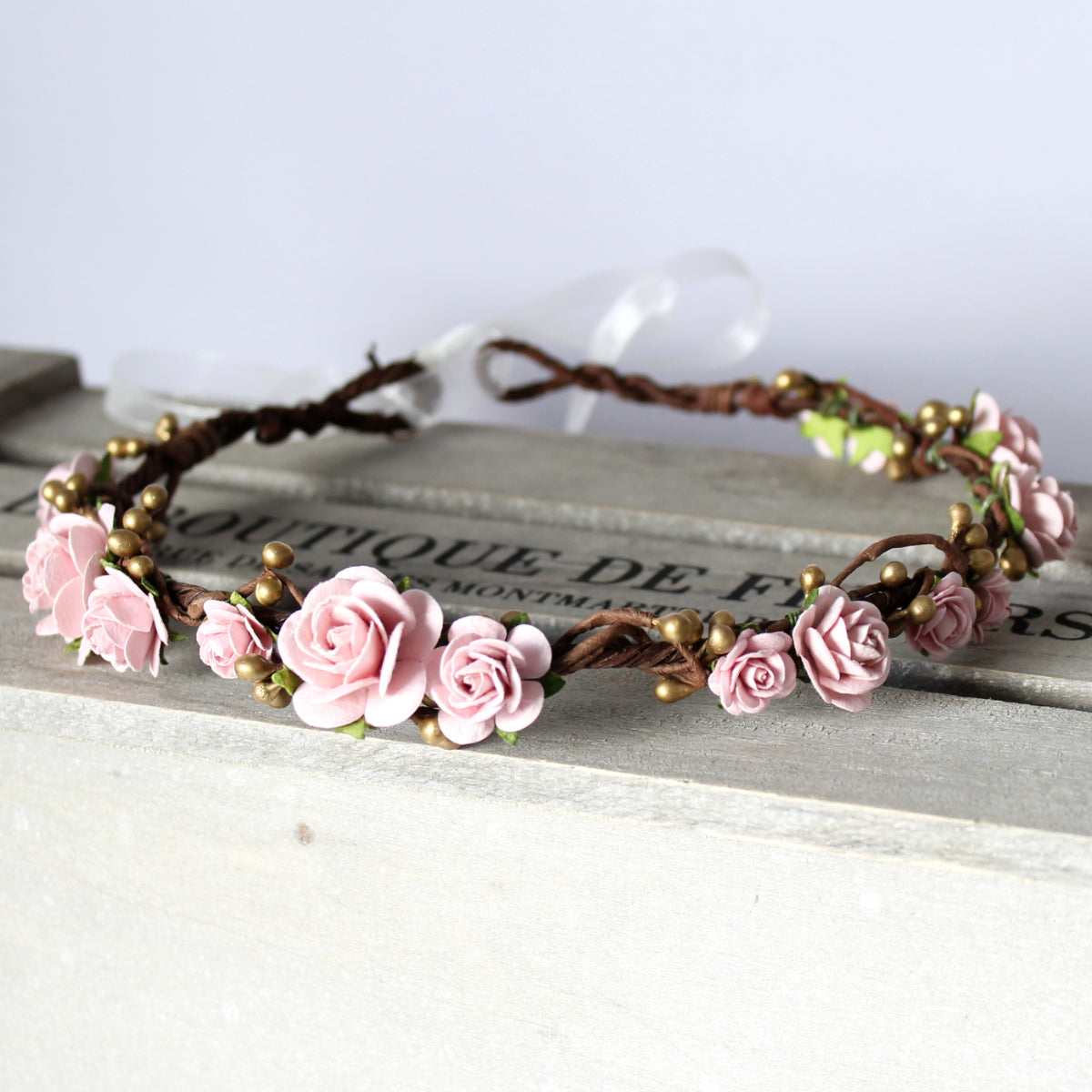pink blush and gold flower crown
