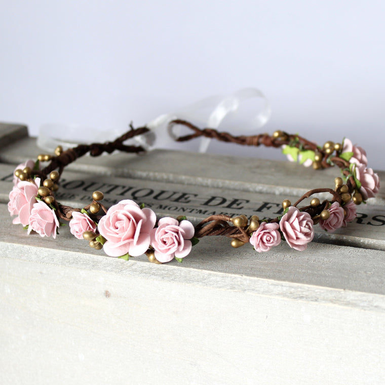 LUCY Pink Blush and Gold Flower Crown