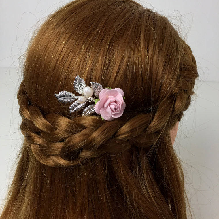 LUNA Leafy Rose and Pearl Hair Pin