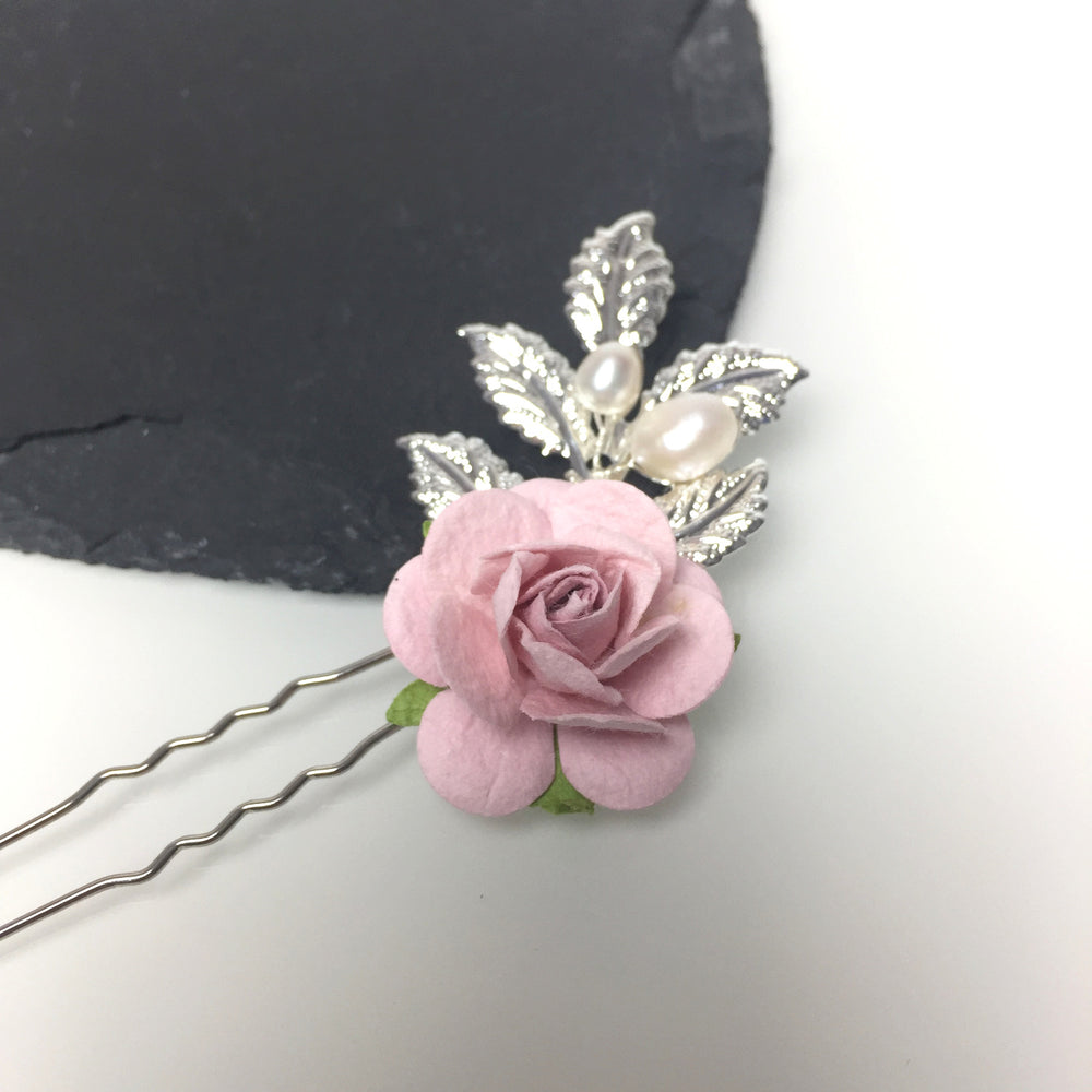 pink rose and leaf silver hair pin