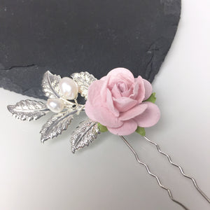 blush pink rose silver hair pin