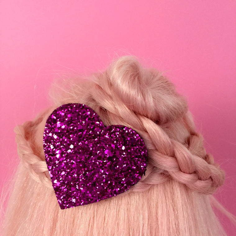 Glitter Heart Hair Clip - many colours