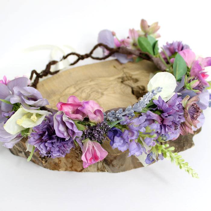 purple flower crown boho wedding