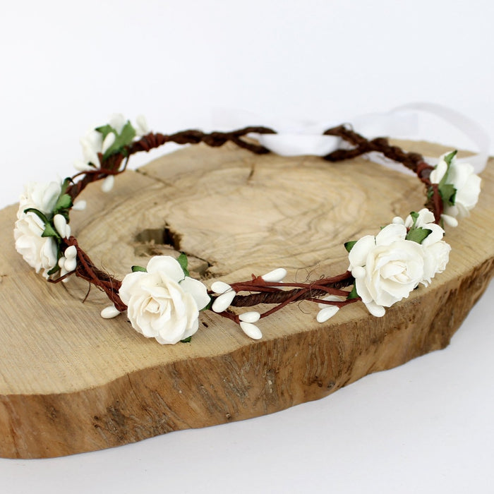 white flower crown communion