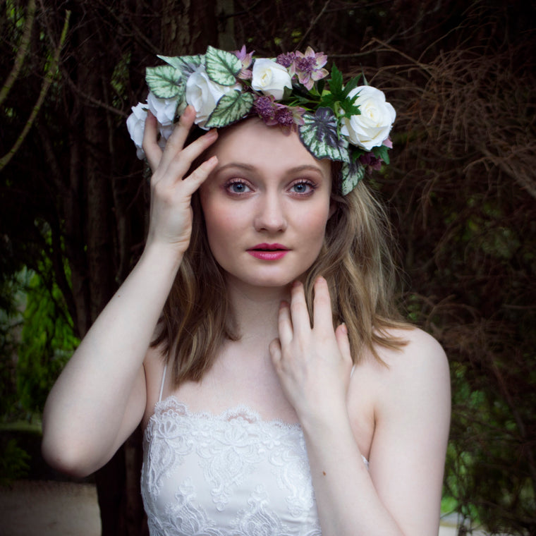 MARTHA Ivory Rose Oversized Flower Crown