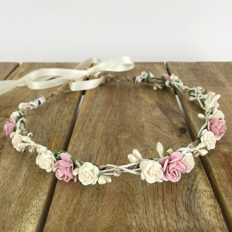 blush pink flower crown for wedding