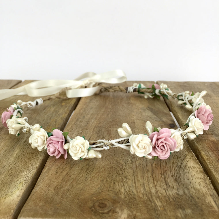 MEGHAN Rose Pink and Ivory Diamante Flower Crown