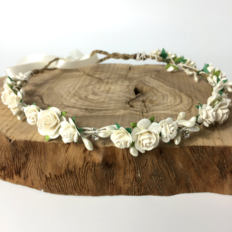 MEGHAN Ivory Rose and Diamante Flower Crown