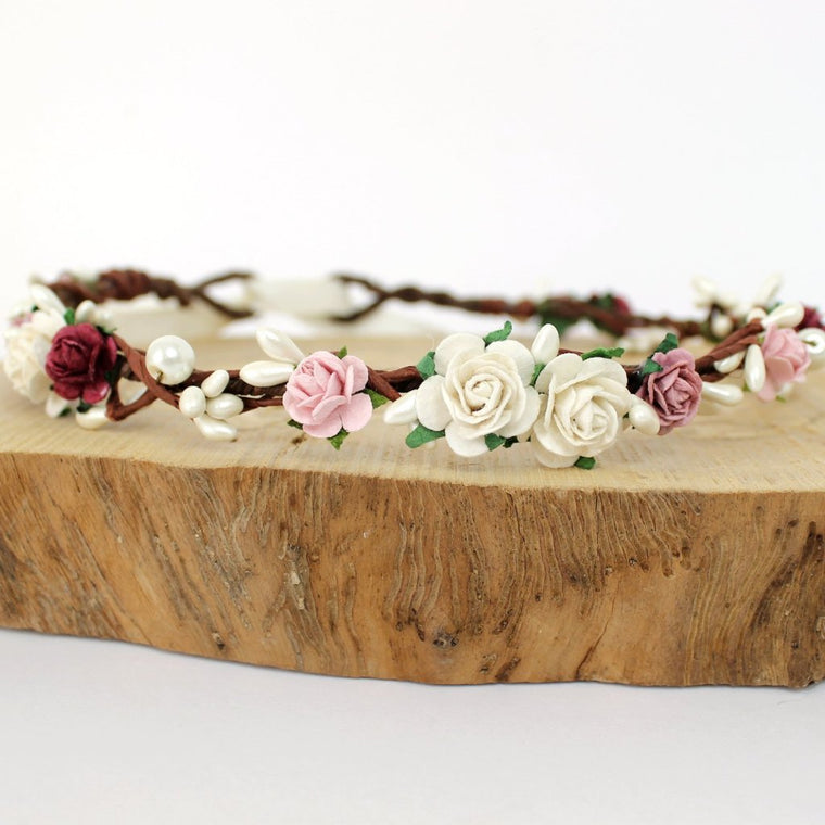 MIA Deep Red and Blush Rose Flower Crown