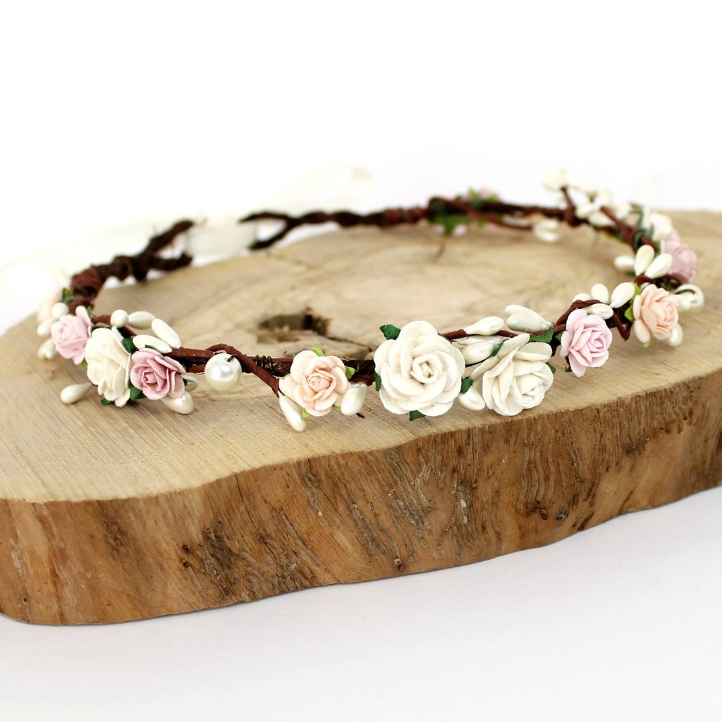 blush peach pink flower crown