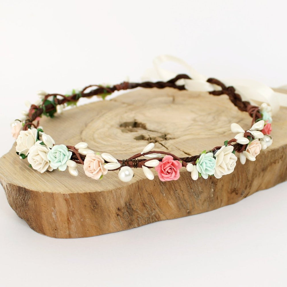 coral mint flower crown