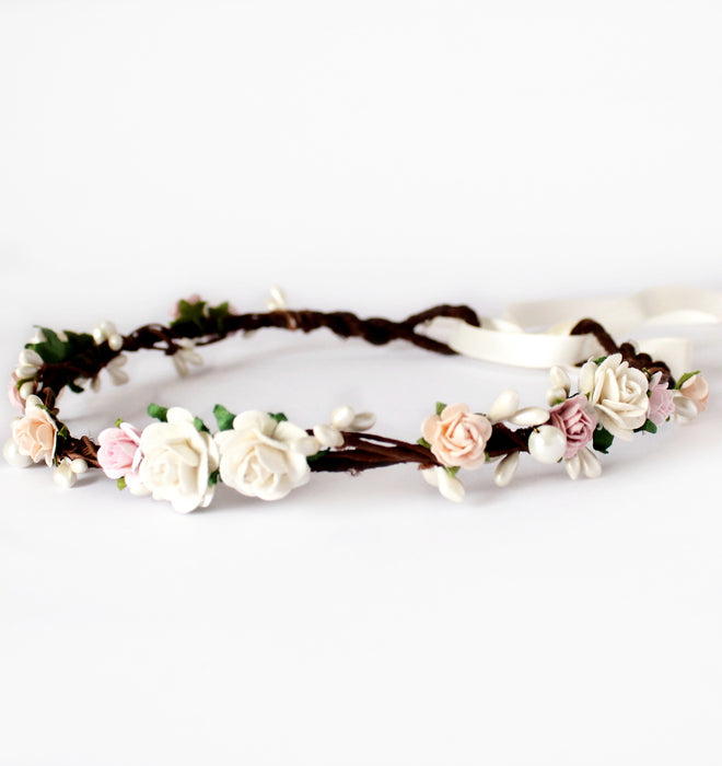 blush flower crown wedding uk