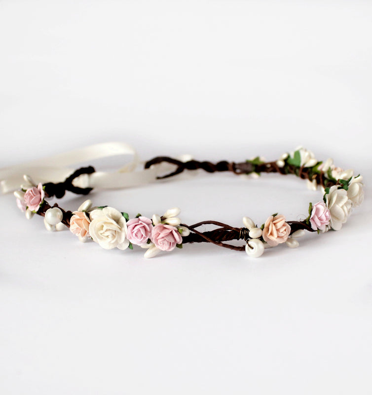 blush pink peach flower crown flash floozy