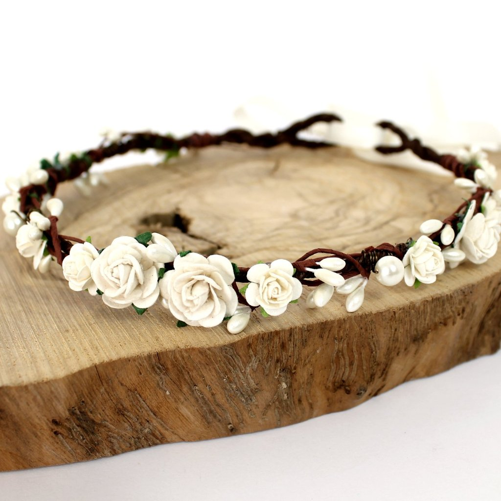ivory wedding flower crown uk