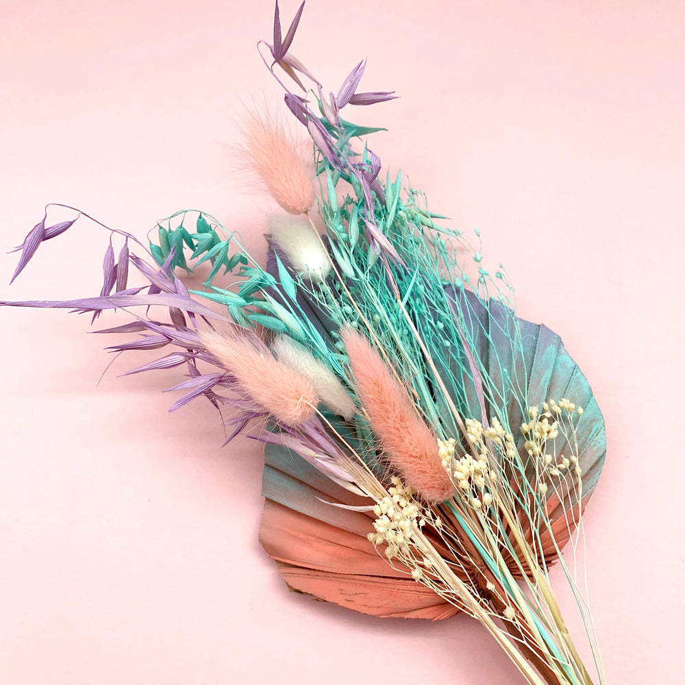 mermaid coral pastel dried flower palm cake topper