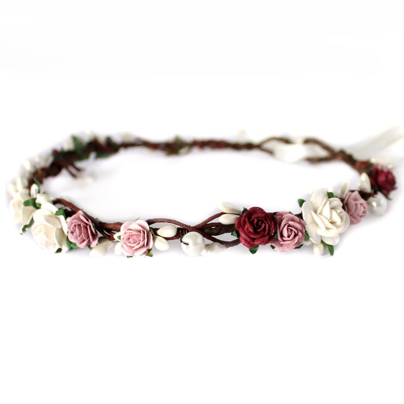 burgundy flower crown bridal uk