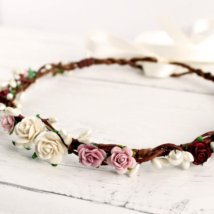 burgundy blush flower crown wedding