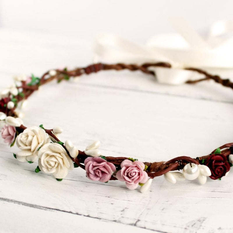 burgundy ivory flower crown wedding