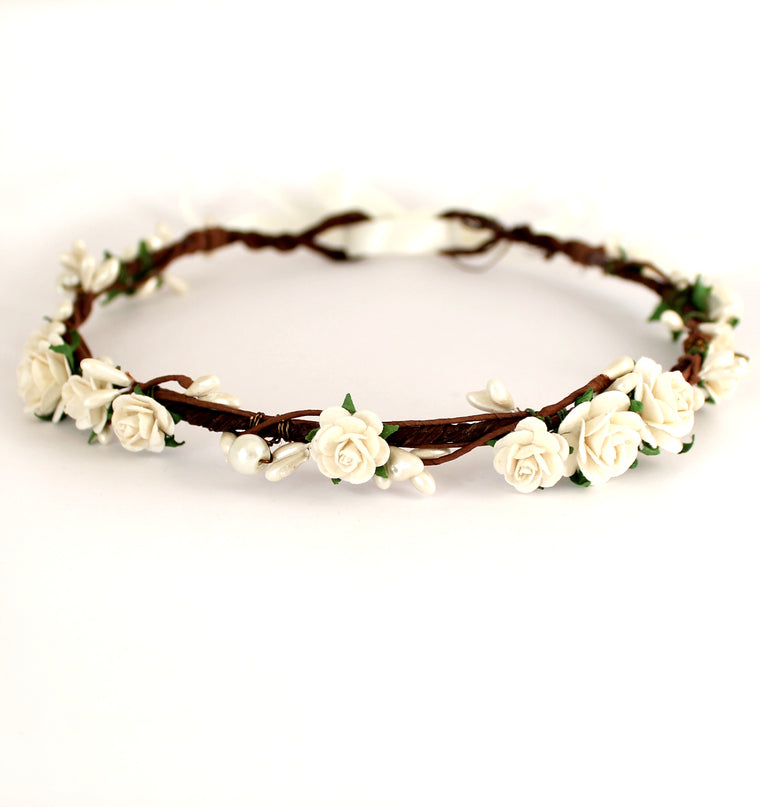 MIA Ivory Rose and Pearl Flower Crown