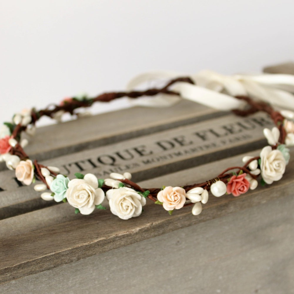mint coral peach flower crown uk