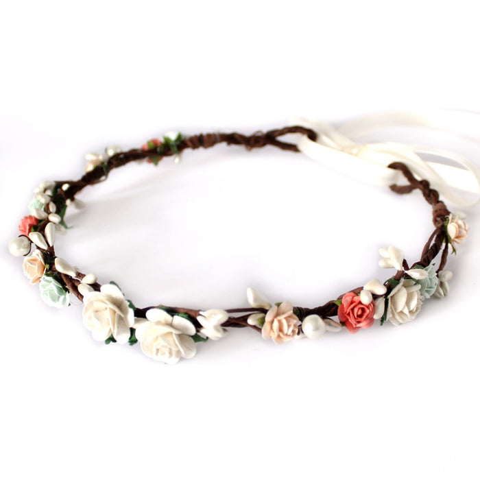 mint coral peach flower crown flashfloozy