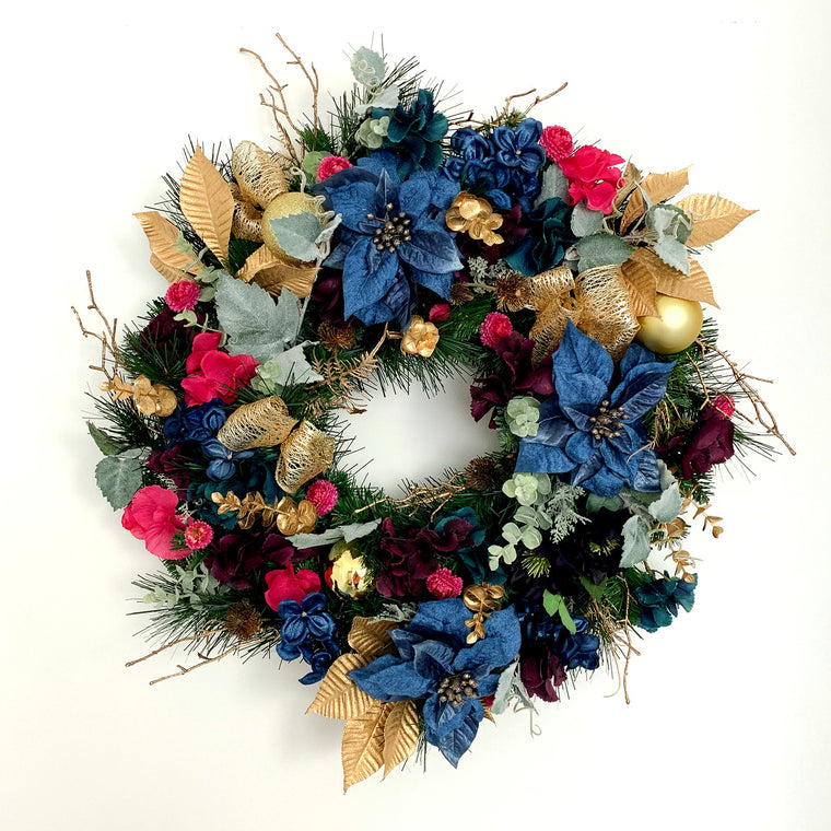 Midnight Blue and Gold Christmas Wreath