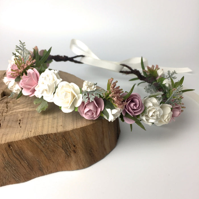 NORA Blush Rose and Fern Flower Crown