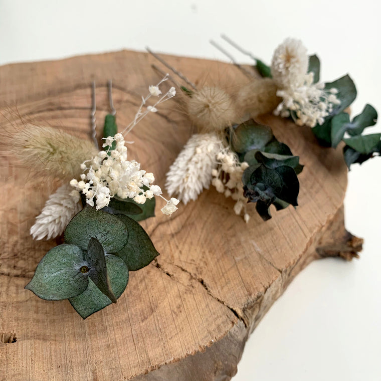 Natural dried flower hair pins