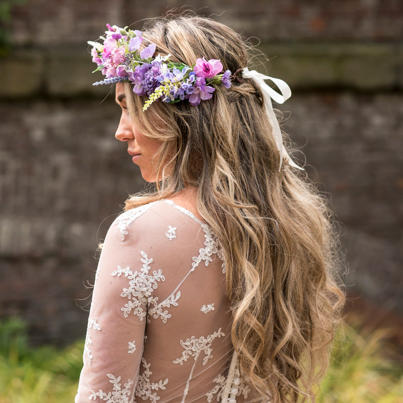 wedding flower crown purple